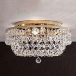 Rund SHERATA krystalloftlampe i guld 35 cm