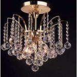 LENNARDA loftlampe i krystal og guld 42 cm