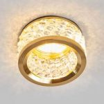 Med krystalpynt – indbygningslampe Iwen, guld