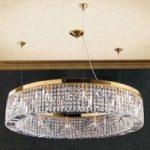Strålende krystal hængelampe Ring 110 cm, guld