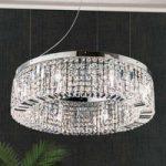 Strålende krystal hængelampe Ring 80 cm, krom