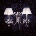 Sølv tekstil væglampe Krystaldesign, 2 lysk.