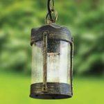 Sort forgyldt hængelampe Lenard til udendørs brug