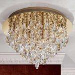 Krystal loftslampe Helene i guld, 45 cm