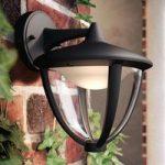 Philips Robin LED-udendørsvæglampe i sort, ned