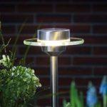 Solcellelampe i ædelstål Ufo med LED, IP44