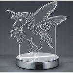 Bordlampe Karo med 3D-hologram, enhjørningemotiv