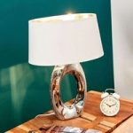 Bordlampe Quina med tekstilskærm, sølv/hvid