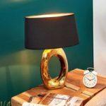 Bordlampe Quina med tekstilskærm, guld/sort