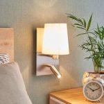 Væglampe Aiden med LED-læselampe, hvid, nikkel