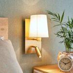 Væglampe Aiden m. LED-læselampe, antik messing