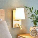 Væglampe Aiden med LED-læselampe, hvid, messing