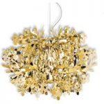 Pendellampen Fiorella med mange detaljer, guld