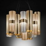 Glamourøs LED-designerpendellampe La Lollo, guld