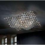 Saten loftlampe i krystal 56 cm