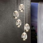 Rocio – LED-hængelampe, krom, 5 lysk.