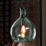 Rustik glas-hængelampe Laia, blå