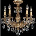 Bronze farvet loft-lysekrone Milano med krystaller