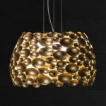Forgyldt LED-pendellampe Anish Ø 63 cm