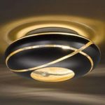 Sort-gylden loftlampe Farona af glas