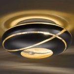 Glas-loftlampe Farona i mat sort og guld