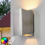 Temis – LED IDual udendørs væglampe børstet nikkel