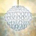 GIOGALI krystalglas-pendellampe 50 cm, hvid