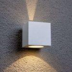 Hvid LED udendørs væglampe Jarno, terningform