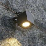 Firkantet LED udendørsspot Mariana, grafitgrå