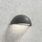 Udendørs LED-væglampe Ulla, halvrund, mørkegrå