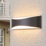 Antracitfarvet LED-udendørsvæglampe Akira