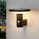 Rund LED-udendørsvæglampe Jersy med solcellepanel
