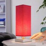 Rød natbordslampe Julina med stofskærm
