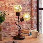 Julien – bordlampe med 2 lyskilder og gyldent glas