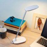Hvid LED skrivebordslampe Verena, USB-stik