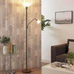 Rustfarvet LED standerlampe med ekstra læselampe