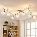 LED loftlampe Ticino, 8 lyskilder, aluminiumsnet