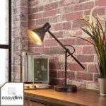 Rustfarvet LED bordlampe Zera, easydim