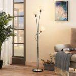 LED-gulvlampe Matthea, 3 lyskilder, hvidt glas