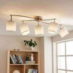 Hvid LED loftlampe Mirola af stof, 5 lyskilder