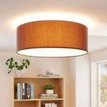 Brun tekstil LED loftlampe Dora, dæmpbar