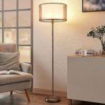 Brun LED-gulvlampe Amon i tekstil, dæmpbar