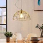 Bur-hængelampe Deria, messingfarvet, 1 lyskilde