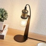 Vintage-bordlampe Aurella, antik messing