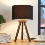 Tekstilbordlampe Majken – mørkegrå/sort