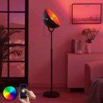Lindby Smart LED-gulvlampe Muriel, 1 lys, sølv