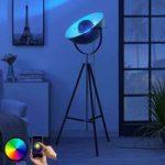 Lindby Smart trebenet LED-gulvlampe Muriel, sølv