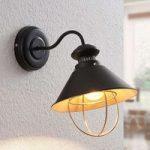 Væglampe Aloisia med bur, sort-guld