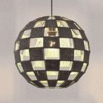 Hængelampe Jiliana, grå, rund, skakbrætmønster