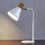 Hvid bordlampe Silva med korkdekoration, 32 cm